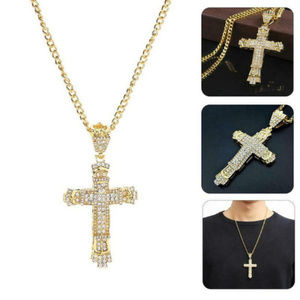 Other - Men's Stainless Steel Cross Gold Crystal Necklace
